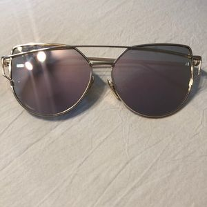 Gold frame, pink lense mirrored cat eye sunglasses